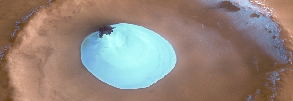 Ice Filled Crater on Mars