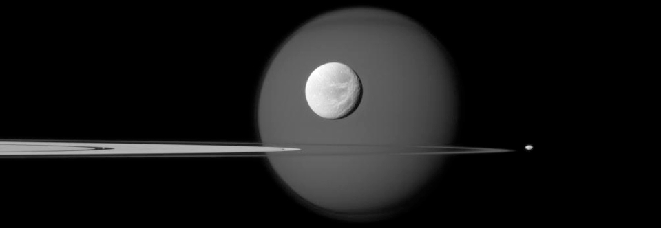 Titan, Dione and the ring shepherds Pandora and Pan.