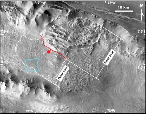 Long-runout landslide in Ius Chasma, Valles Marineris, with characteristic zoned morphology. Image credit: NASA/JPL/ASU