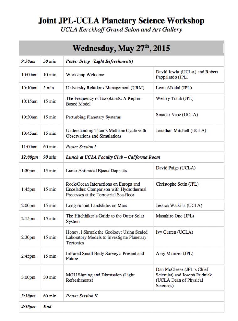 jpl-ucla general schedule