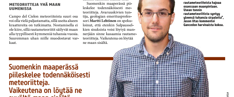UCLA Meteorite Hunter Jason Utas In Finnish Magazine Tähdet Ja Avaruus